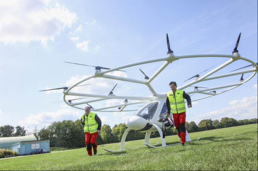 Der Volocopter bringt den Notarzt schnell zum Einsatzort