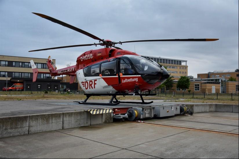Zum Vergleich: die EC 145 – der Hubschraubertyp war nur zwei Jahre in Greifswald im Einsatz (Aufnahme aus dem Juli 2019)