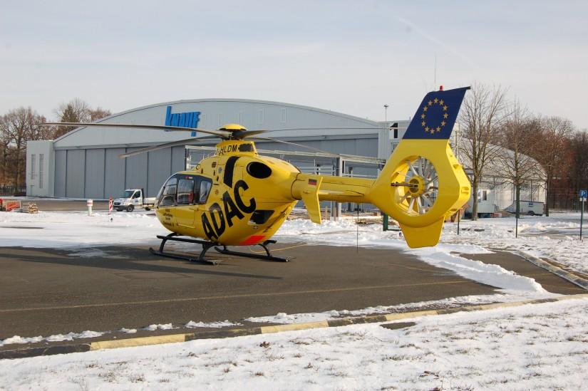 """Der RTH """"Christoph 18"""" war während den Umbauarbeiten im nur wenige Flugminuten entfernten Giebelstadt auf einer ehemaligen US Air Base stationiert"""