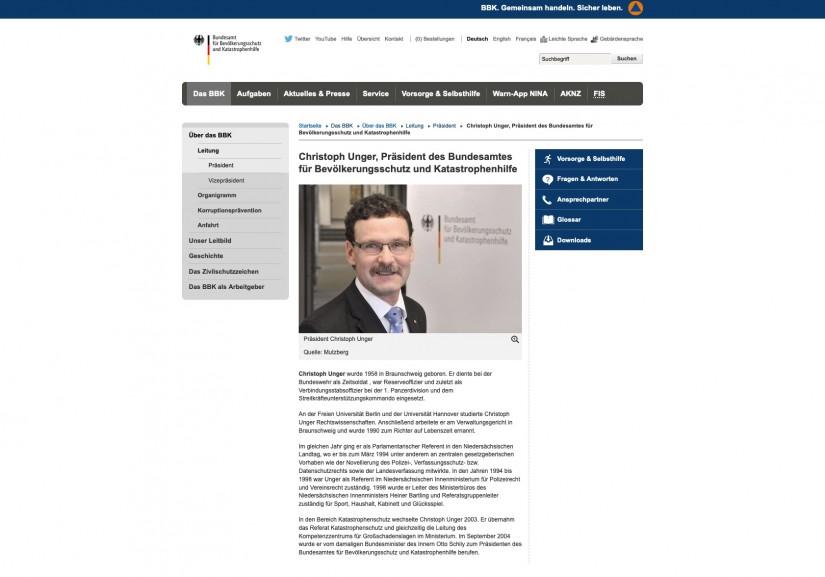 Die altertümliche Webseite des BBK beschreibt Präsident Christoph Unger