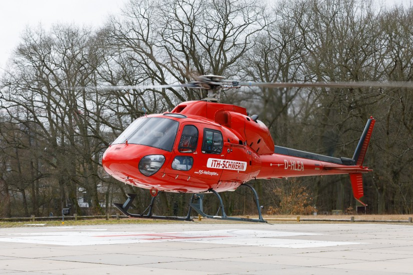 Die zuletzt in Schwerin-Pinnow eingesetzte AS 355 F2 mit der Kennung D-HLEA
