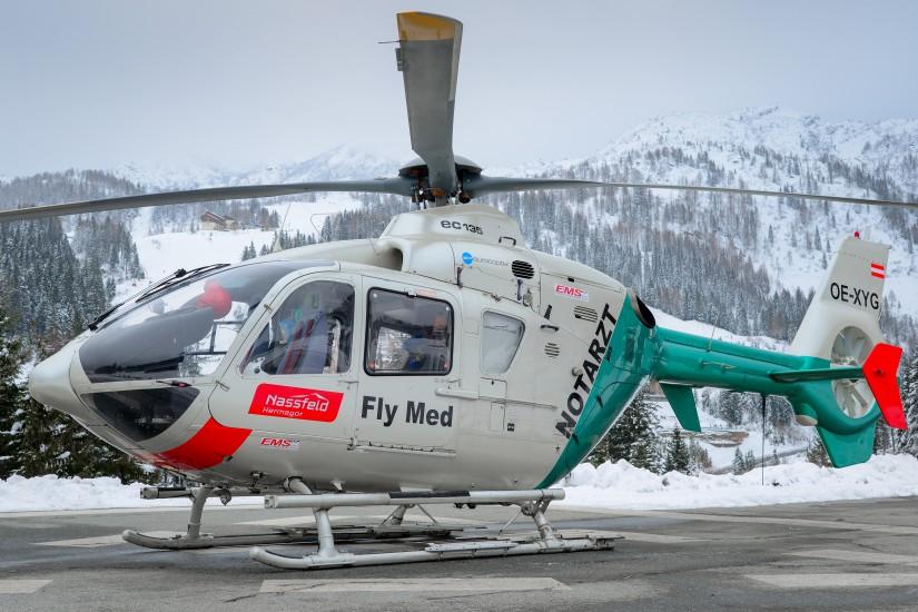 """Ihre bayerische Herkunft kann die EC 135 P2 """"OE-XYG"""" mit dem Rufnamen """"Airmed 1"""" nicht verleugnen"""