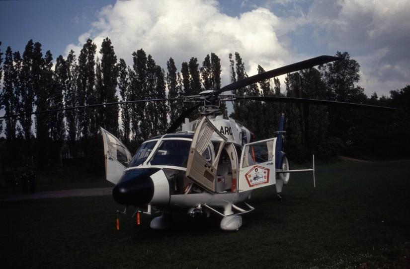 """Die Firma Arcus Air konnte die """"Dauphin"""" Anfang der 1990erjahre erwerben und setzte sie als """"Florian Köln 7/84-1"""" im Ambulanzflugdienst ein"""