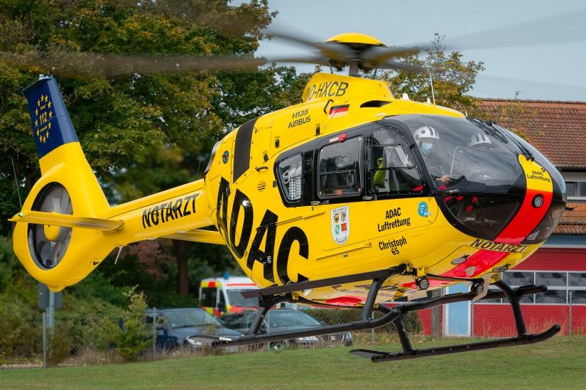 Neben Ochsenfurt kommt auch in Dinkelsbühl-Sinbronn eine H135 zum Einsatz (Aufnahme aus dem September 2020)
