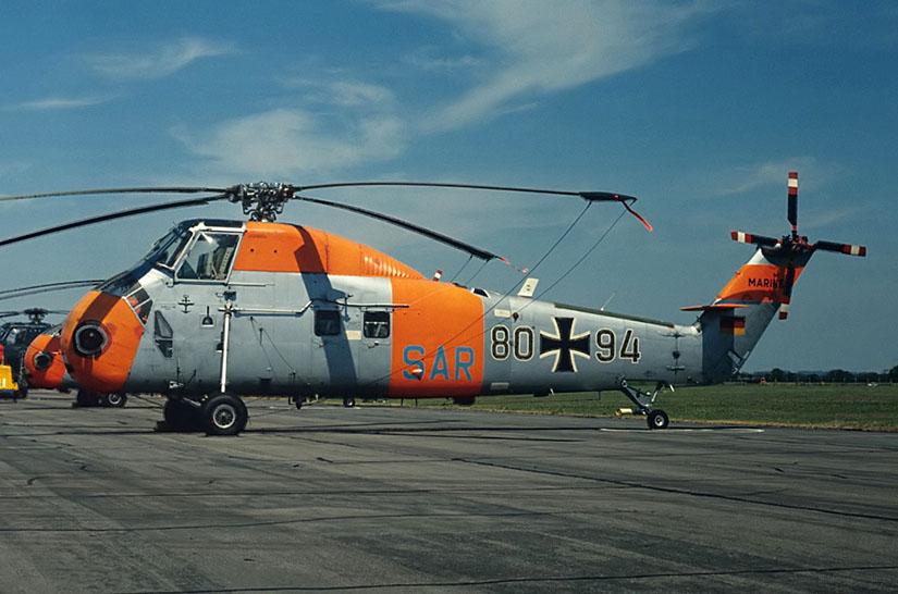 """Die Sikorsky H-34 der Marine, hier 1972 bei einem Besuch beim """"SAR-Meet"""" im britischen Lee-on-Solent, flog lange Jahre SAR-Dienst in Deutschland"""