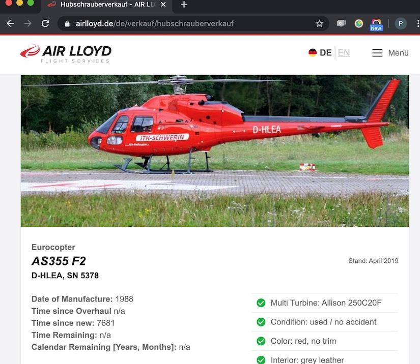 """Verkauf der AS 355 """"D-HLEA"""" die zuvor als sogenannter """"ITH Schwerin"""" flog"""