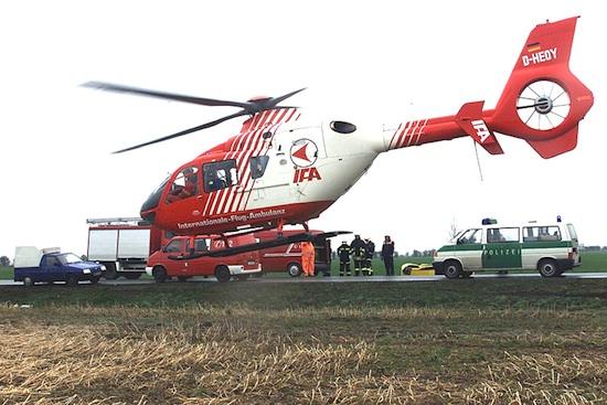 """Der Hubschrauber """"D-HEOY"""" bei einem primären Notfall- Rettungseinsatz"""