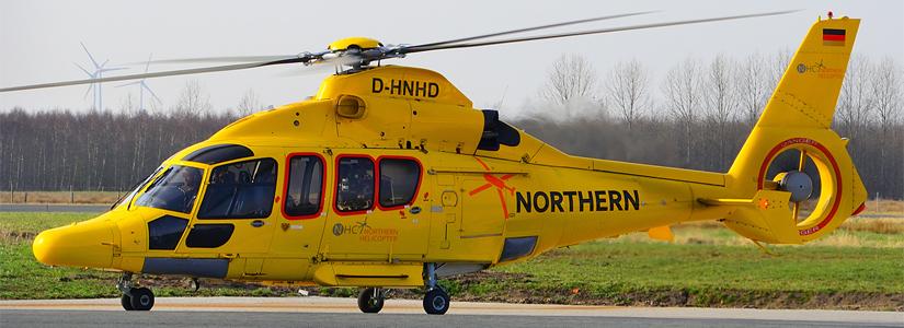 """Der Hubschrauber """"Northern Rescue 01"""" kurz vor dem Abflug"""