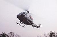 Schweriner Bell 205 der TeutoAir im Endanflug. Den Standort übernahm FJS Helicopter