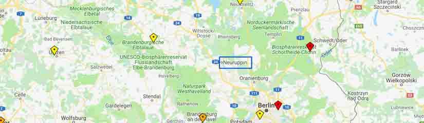 Karte der umliegenden Rettungshubschrauber-Stationen, Neuruppin ist markiert