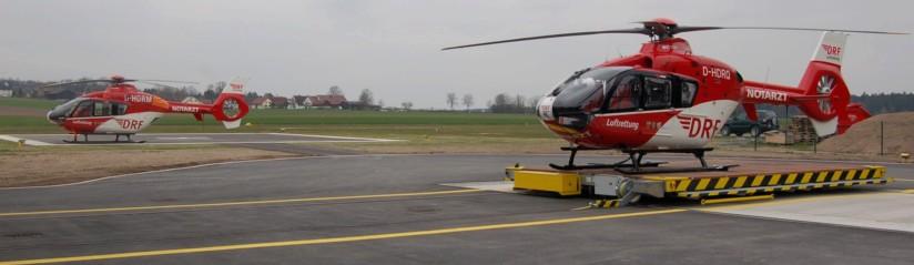 """Aktuell betreibt die DRF Luftrettung """"Christoph 80"""" mit einer Maschine des Typs EC 135 (hier zu sehen im April 2012 mit einer baugleichen Backup-Maschine)"""