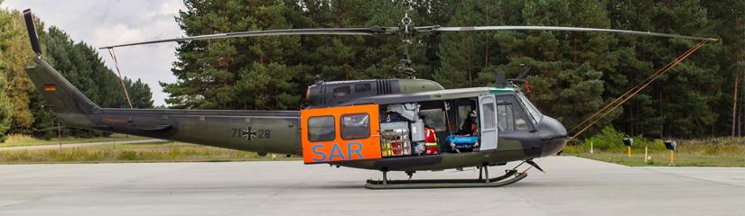 Der SAR-Hubschrauber im brandenburgischen Holzdorf. Direkt am Fliegerhorst verläuft die Landesgrenze zu Sachsen-Anhalt