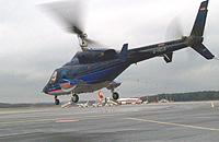 Ende 2001 hebt die Bell 222 (D-HELB) zum letzten Mal vom FMO ab