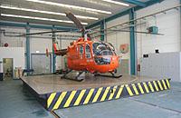 Christoph 37 in seinem Hangar