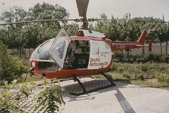 """BO 105 """"D-HDCM"""" an der EPU angeschlossen in Ludwigsburg, Landeplatz Wirtschaftshof Krankenhaus Ludwigsburg"""