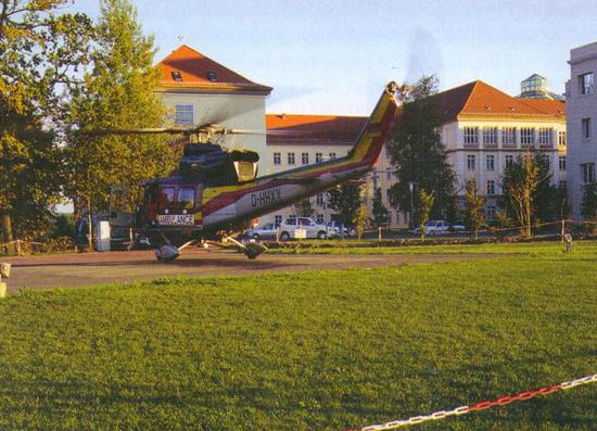 Der Bodenlandeplatz an der Zentralklinik Bad Berka. Hier stand die Bell 412 bis zum Einzug in die Hangaranlage