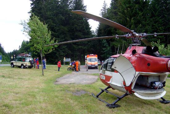 Einsatz im Hochschwarzwald mit der Bergwacht. Nicht immer so gutes Flugwetter wie hier bei der Rettung eines Motorradfahrers