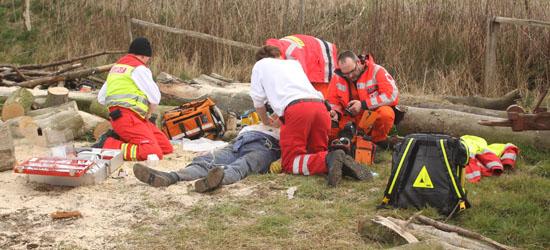 Gemeinsam mit der Besatzung des Rettungswagens reanimieren Dr. Ulrike Lamp und Jan-Olaf Weigt den Patienten an der Unglücksstelle