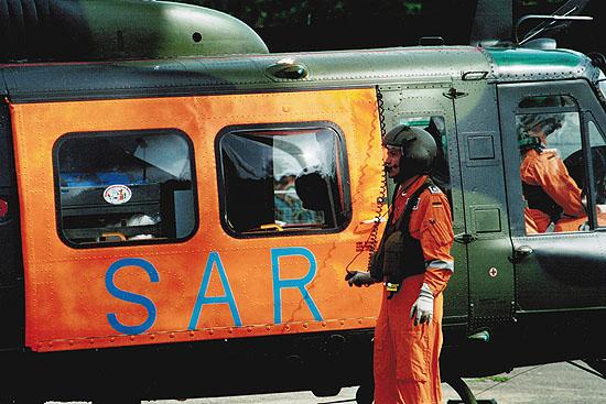 Die leuchtrote SAR-Tür ist bis heute das Markenzeichen der SAR-Luftrettung