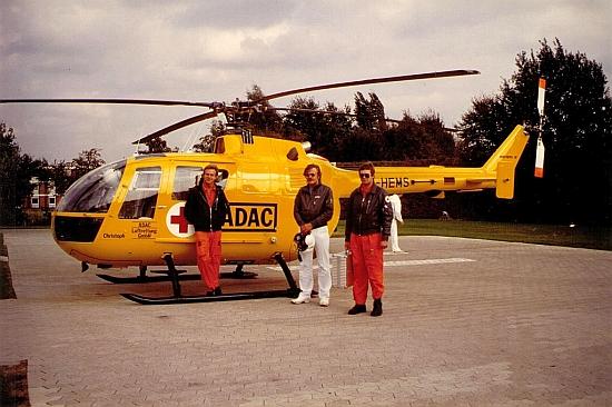 """Im April 1983 übernahm der ADAC die Station. Seither lautet der Funkrufname """"Christoph 19"""". Diese Bild entstand um 1985."""