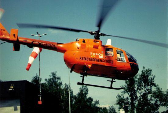 Bis etwa Mitte der 90er Jahre kamen in Köln BO 105 CB zum Einsatz. Hier die D-HDOC, mit der die Luftrettung in Köln 1971 ihren Anfang nahm