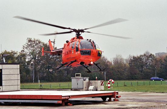 """Landung von """"Christoph 3"""" als BO 105 am Standort in Köln-Merheim"""