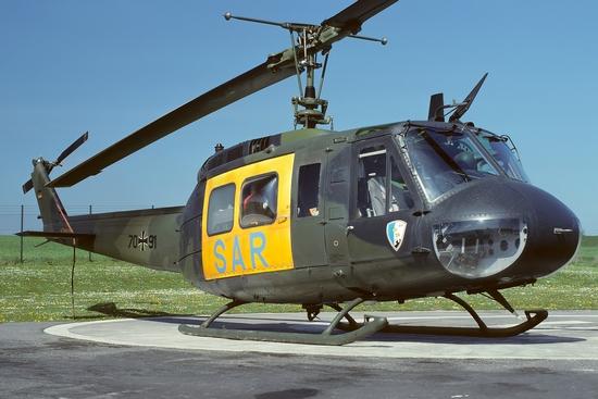 """Bis Ende 1993 war das Hubschraubertransportgeschwader 64 für """"SAR 76"""" verantwortlich, hier ein Bild von April 1990"""