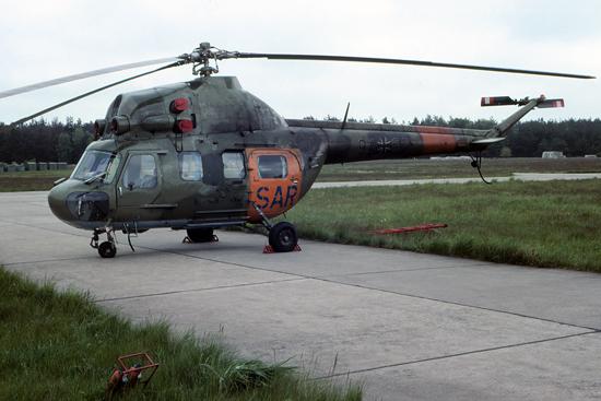 Nach der Wiedervereinigung wurde die Bundeslufwaffe neuer Eigner der Mi-2. Die Aufnahme entstand 1991 am Fliegerhorst Brandenburg-Briest
