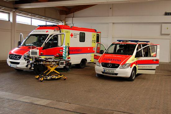 Partnerschaftlich verbunden: Der DRK-Kreisverband Kassel-Stadt e. V. präsentierte sein neues Intensivmobil (ITW) sowie sein Intensiv-NEF...