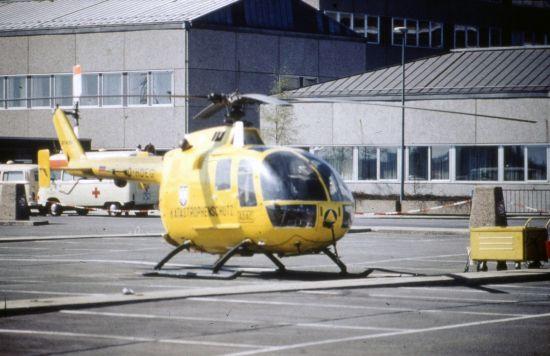 1972 bestand für den Hubschrauber nur eine Landemöglichkeit auf dem Parkplatz vor der Notaufnahme