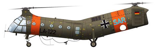 """Bis 1965 auch im SAR-Dienst der Luftwaffe: Vertol H-21 """"Fliegende Banane"""". Betreiber war die 1. Luftrettungs- und Verbindungsstaffel in Fürstenfeldbruck"""