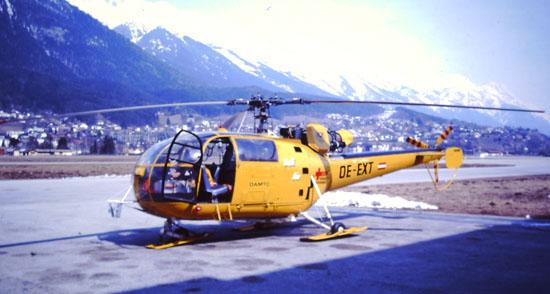 """Leider ging 1988 eine """"Alouette III"""" durch Absturz verloren. Hier eine Ersatzmaschine ohne Winde"""