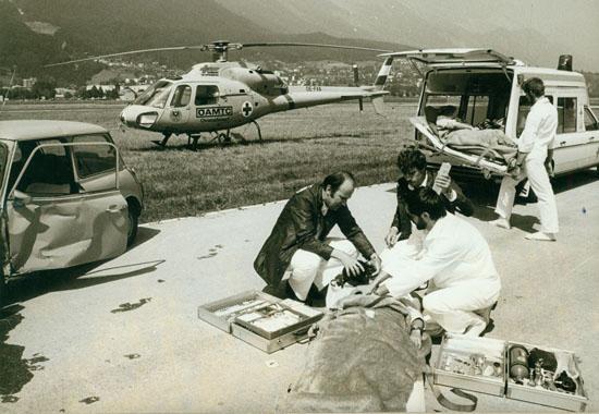 """Frühes Einsatzbild mit der ersten Maschine """"OE-FXA"""". Sie wurde Anfang des Jahrtausends von der Bundesfachschule Flugtechnik in Langenlebarn vollständig restauriert"""