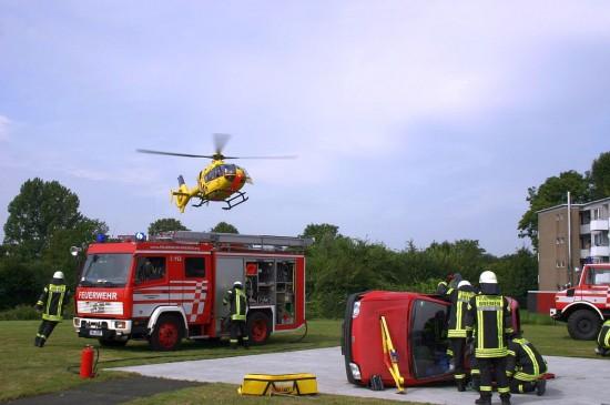 Rettungsdemonstration: RTH erreicht die Einsatzstelle