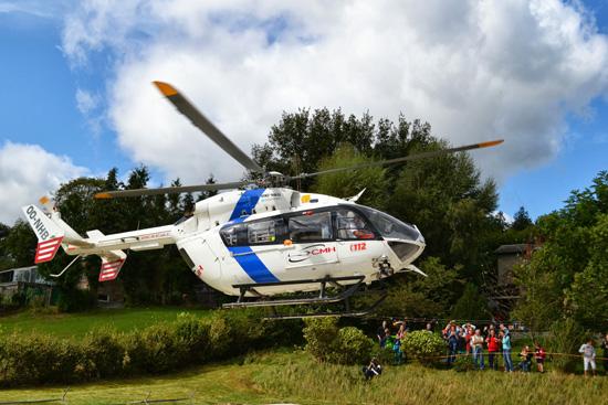 """Abflug des Hubschraubers mit dem Rufnamen """"Spirit of St. Luc"""" zu einem Einsatz"""