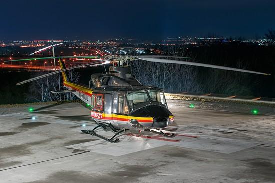 Auch Einsätze nach Sunset waren  für die nachtflugtaugliche 412 kein Problem. Hier zu sehen Christoph Nürnberg zu Gast in Regensburg.