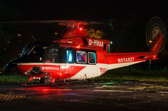 Als 24h-ITH waren die Bell 412 auch überregional stark gefragt. Das Bild zeigt eine nächtliche Verlegung vom Thüringer ITH in Koblenz.
