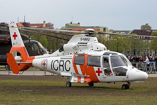 Eine AS365 von Heli Aviation war ebenfalls in München zu sehen. Normalerweise ist diese Maschine aber im Auftrag für den ICRC im Südsudan unterwegs