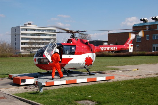 """Im April 2009 setzte das DRK-/DRF-Luftrettungszentrum """"Christoph 11"""" in Villingen-Schwenningen noch die BO 105 ein"""