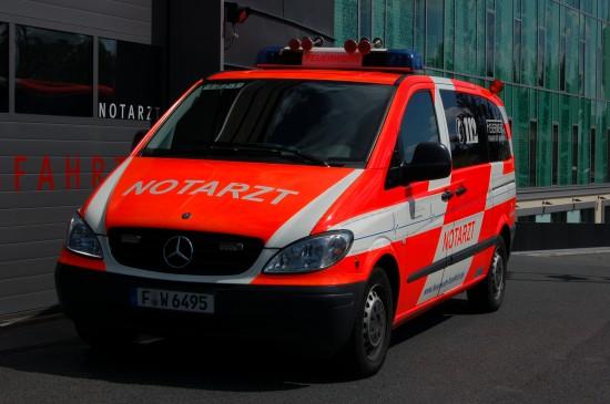 An der BGU ist heute ein Notarzteinsatzfahrzeug (NEF) der Feuerwehr Frankfurt a. M. stationiert, das im Rendezvous-System eingesetzte NEF löste bereits vor Jahren das kompakte NAW-System ab