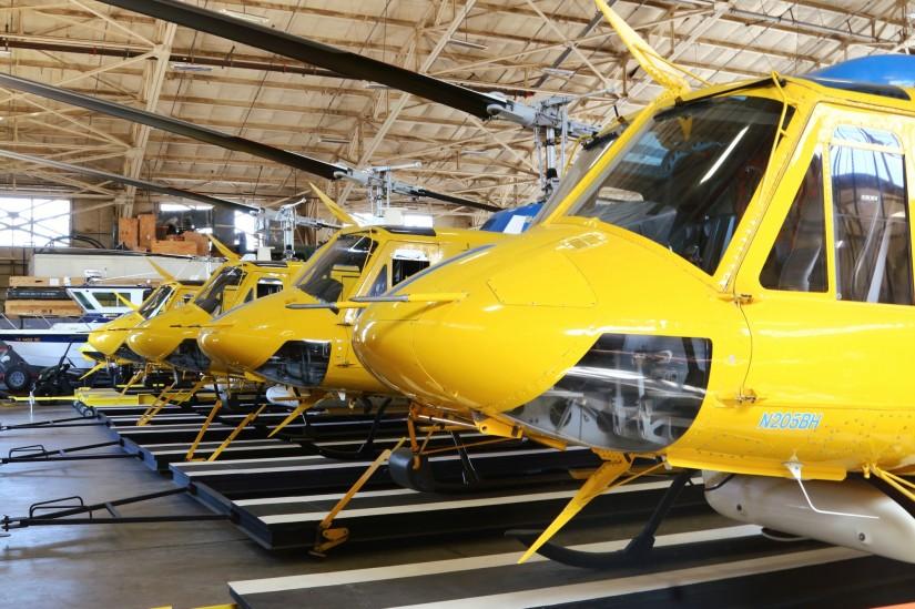 Im Hangar dürfte das Herz eines jeden Huey-Fans höher schlagen. Doch auch hier klagt man über die immer schwieriger werdende Ersatzteilversorgung