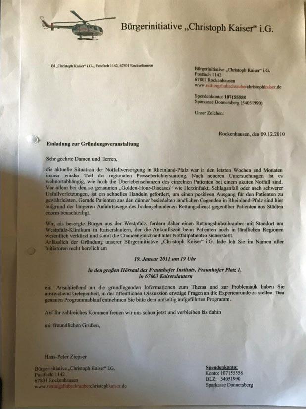 """Ein historisches Dokument: das Einladungsschreiben der Bürgerinitiative """"Christoph Kaiser"""" i. Gr. aus dem Dezember 2010"""