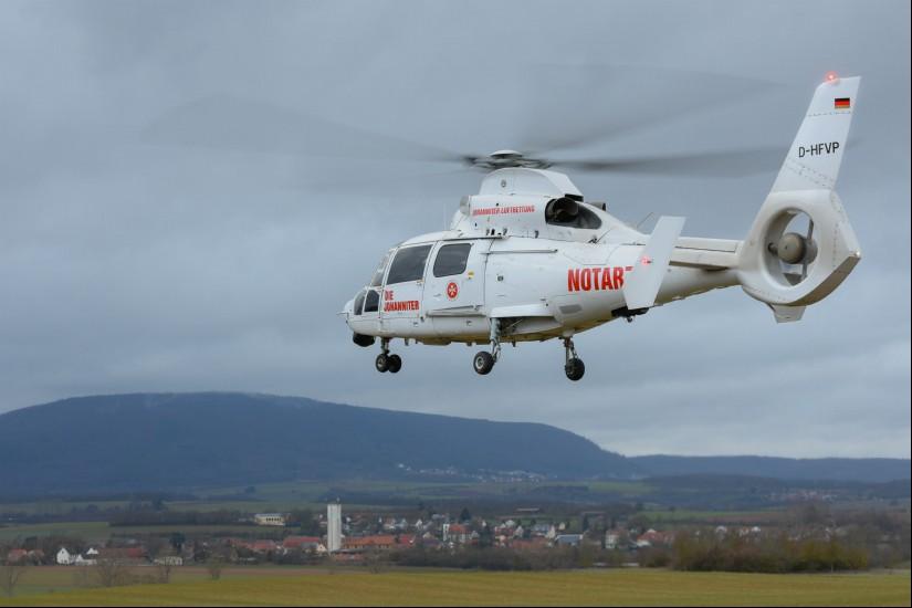"""Ende Januar 2019 kam von Sembach aus die """"White Lady"""" (D-HFVP) als ITH """"Air Rescue Pfalz"""" zum Einsatz – ein echter Hingucker"""
