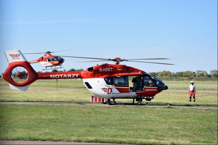Die DRF Luftrettung bot den Ländern Rheinland-Pfalz und Saarland eine H145 als 24-Stunden-ITH mit Standort Zweibrücken an (hier eine aktuelle Aufnahme aus Halle-Oppin)