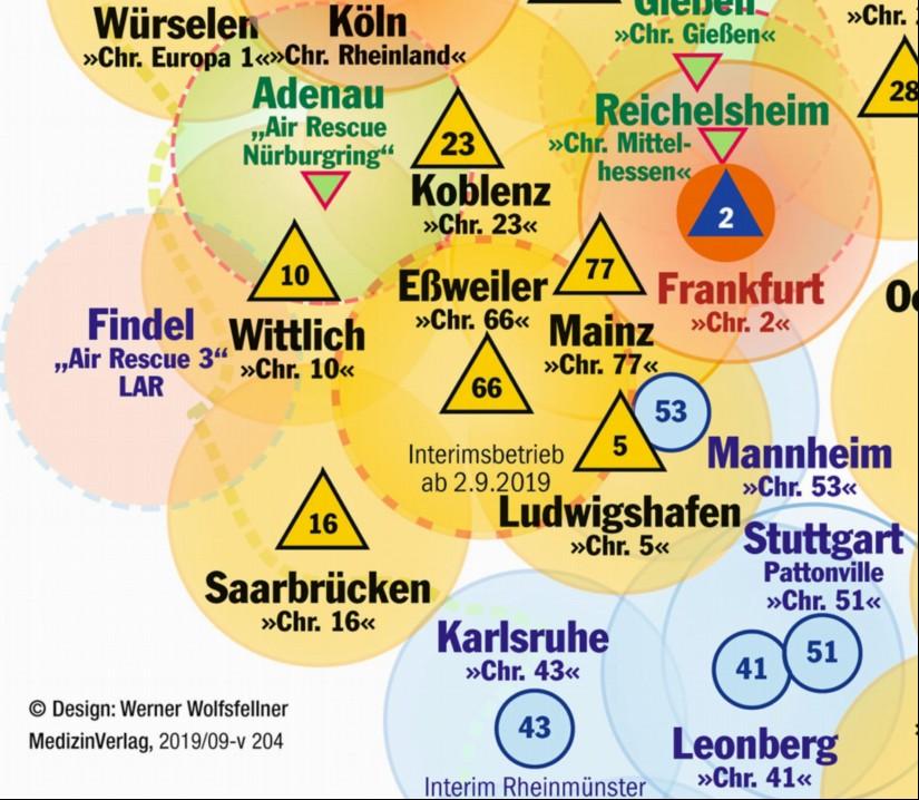"""Die aktuelle Luftrettungskarte zeigt das Einsatzgebiet des seit 2. September 2019 interimsweise in Eßweiler stationierten Dual-Use-RTH """"Christoph 66"""""""