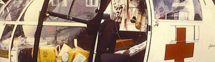 """Christopher Friesland"", eine SA 316 B ""Alouette III"" der S.O.S.-Flugrettung e.V., wurde am 15. November 1979 in Sanderbusch stationiert"
