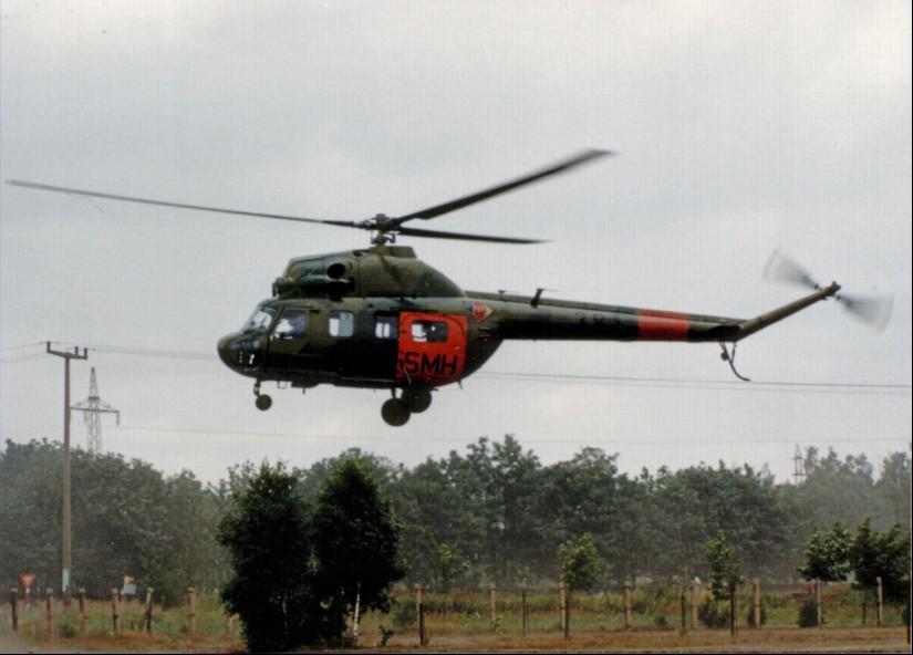 Zum RTH umgerüsteter NVA-Hubschrauber des Musters Mil Mi-2 mit SMH-Kennzeichnung