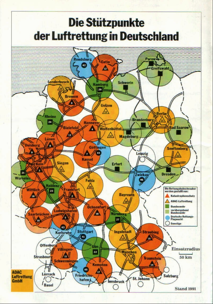 Stützpunktkarte der Luftrettung des ADAC aus dem Jahr 1991