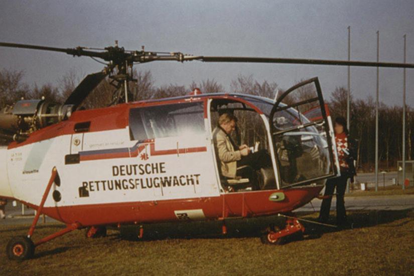 """Mit einer gecharterten Alouette III startete die heutige DRF Luftrettung im März 1973 ihren Flugbetrieb: hier der """"Rettungshubschrauber für den Großraum Stuttgart"""" in Böblingen"""