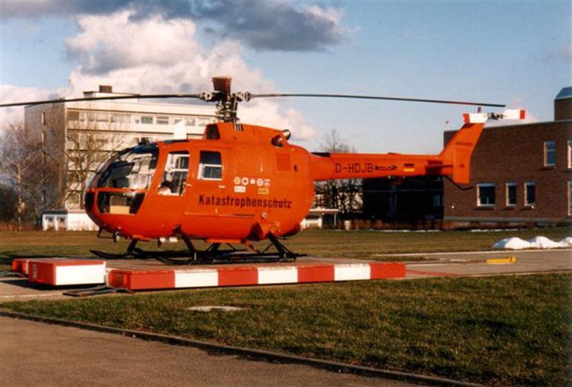In Villingen-Schwenningen kam auch eine orange BO 105 des Bundes zum Einsatz